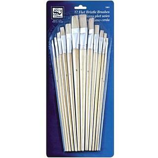 Flat Bristle Brush Set (Pack of 12)