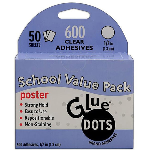 Glue Dots School Value Pack 0.5-inch Poster Dots (Case of 50 sheets)