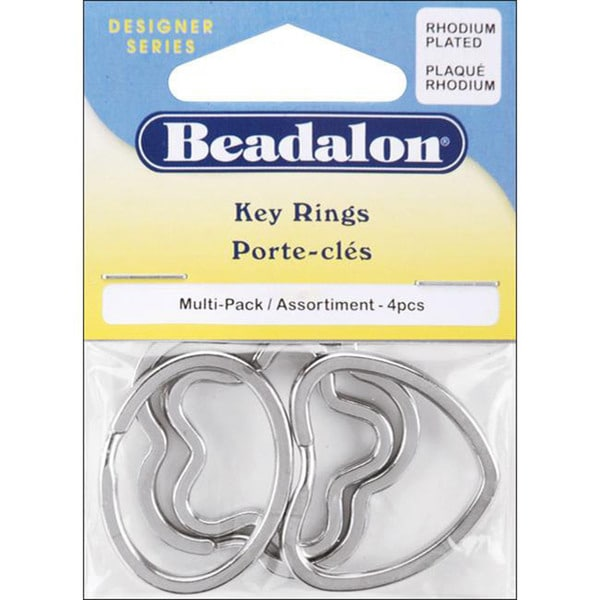 Rhodium-plated Key Ring 4-piece Multi-pack
