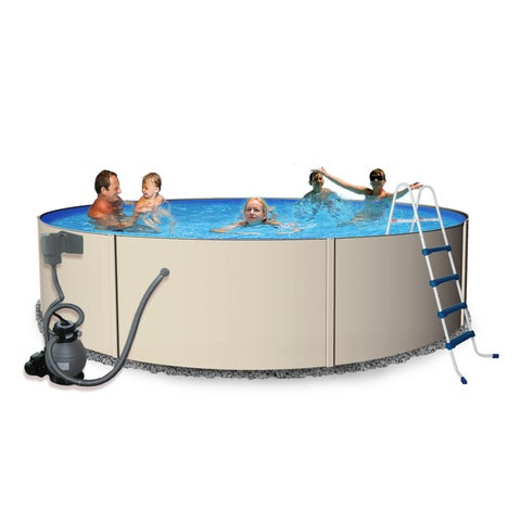 Blue Wave Round Rugged Steel Swimming Pool Package