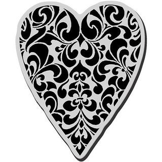 Stampendous Cling Ornate Heart Rubber Stamp for Acrylic Block