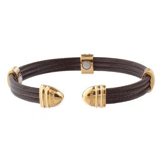 Sabona Classic Cable Black and Gold-plated Magnetic Bracelet