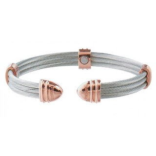 Sabona Classic Cable Stainless Steel and Rose Gold-plated Magnetic Bracelet