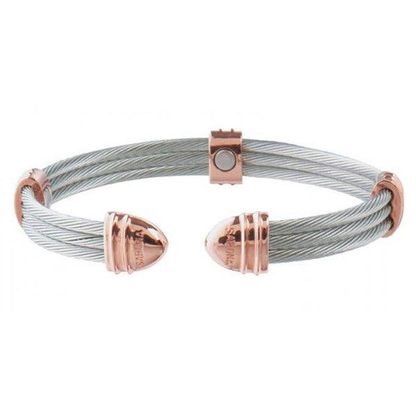 Sabona Classic Cable Stainless Steel and 18k Rose Gold-plated Magnetic Bracelet