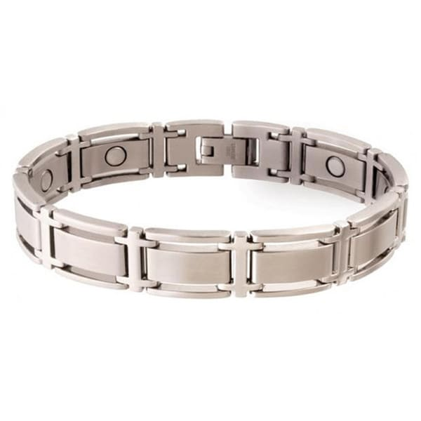 Sabona Executive Symmetry Silvertone Magnetic Bracelet