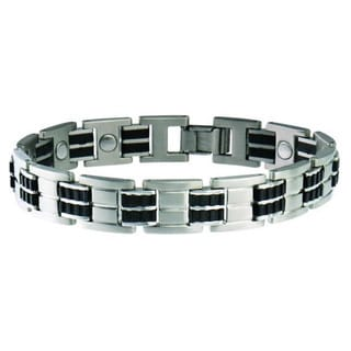 Sabona Executive Stainless Steel Black Rubber Magnetic Bracelet