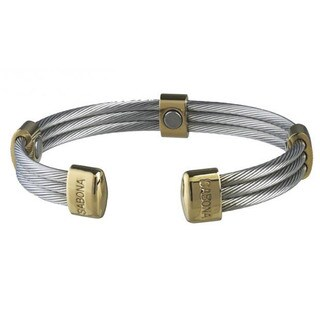 Sabona Trio Cable Stainless Steel and 18k Gold-plated Magnetic Bracelet