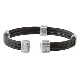 Sabona Trio Cable Black and Silvertone Satin Stainless Steel Magnetic Bracelet