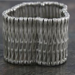 Handmade Silverplated Pewter Fence Stretch Bracelet (Turkey)