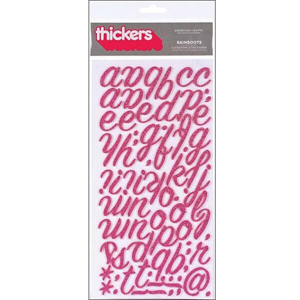 Thickers Chipboard Glitter Rainboots Raspberry Alphabet Stickers