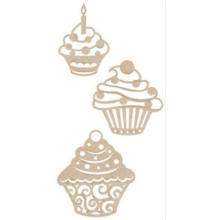 Wooden Cupcake Flourishes (Set of 3)
