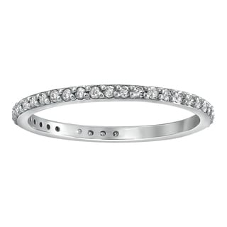 14K White Gold 1 3ct TDW Diamond Eternity Wedding Band Ring By Beverly Hills Charm
