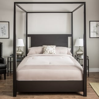Shop Napa Queen Size Black Canopy Bed Free Shipping