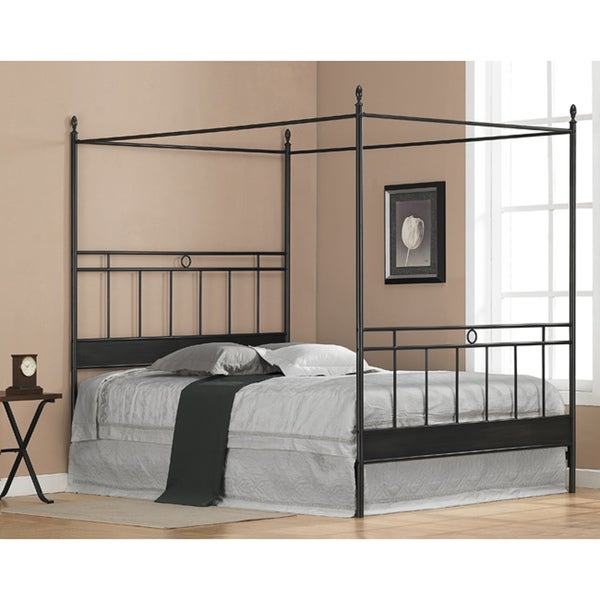 Carbon Loft Jennings Black Metal Queen-size Canopy Bed  sc 1 st  Overstock.com & Carbon Loft Jennings Black Metal Queen-size Canopy Bed - Free ...
