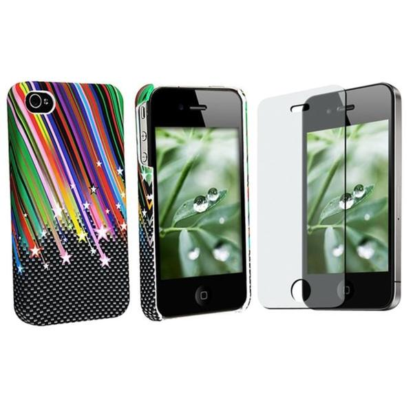 INSTEN Rainbow Phone Case Cover/ Anti-glare Screen for Apple iPhone 4
