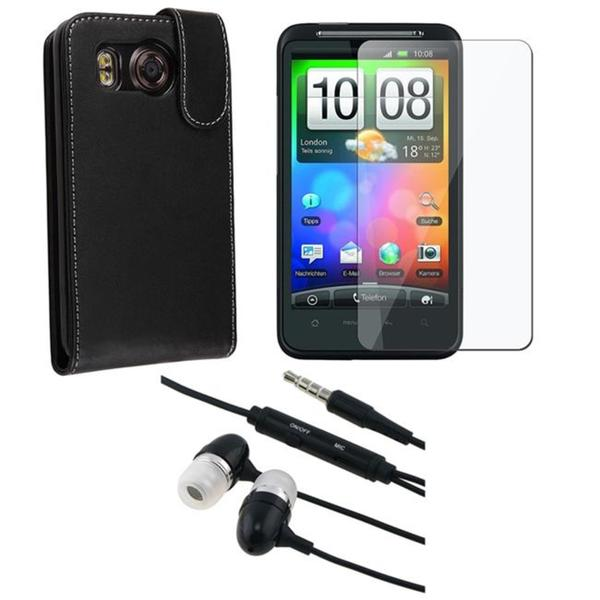 3-piece Leather Case/ Headset /Screen Protector for HTC Desire HD/ Ace