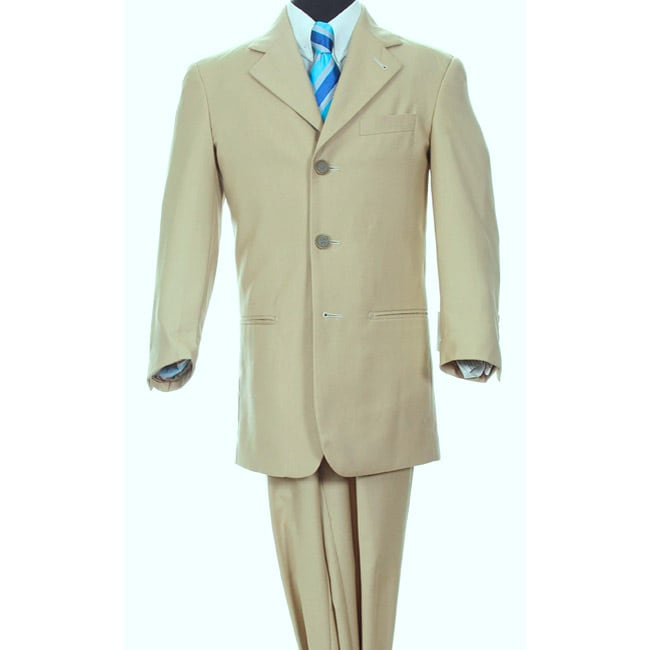 Ferrecci Boy's Beige Three-button Two-piece Suit
