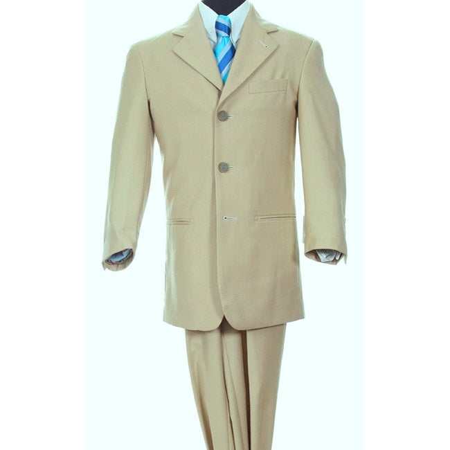 Ferrecci Boy's Beige Three-button Two-piece Suit - Thumbnail 0