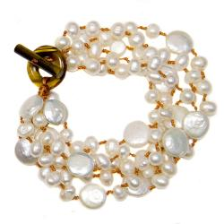 Adee Waiss White Freshwater Pearl and Tiger's Eye 5-strand Bracelet (6-12 mm)