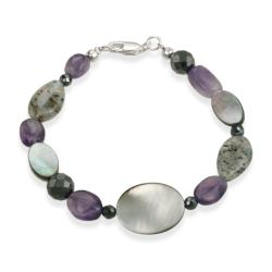 Glitzy Rocks Sterling Silver Abalone and Amethyst Bracelet