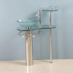 Kokols Wallmount Bathroom Pedestal Glass Sink Vanity Combo