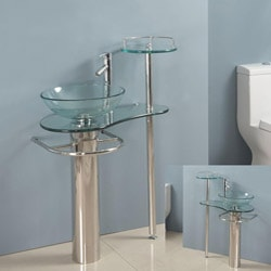Shop Kokols Wallmount Bathroom Pedestal Glass Sink Vanity