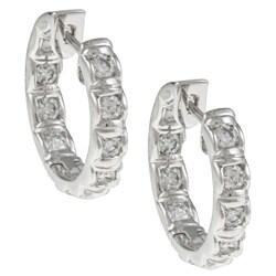 Eloquence 14k White Gold 1ct TDW Diamond Hoop Earrings