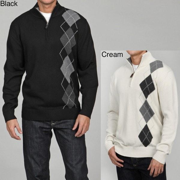 Shop Oscar De La Renta Mens Argyle 14 Zip Sweater Free Shipping