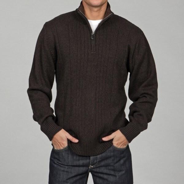Shop Oscar De La Renta Mens 14 Zip Sherpa Lined Sweater Free