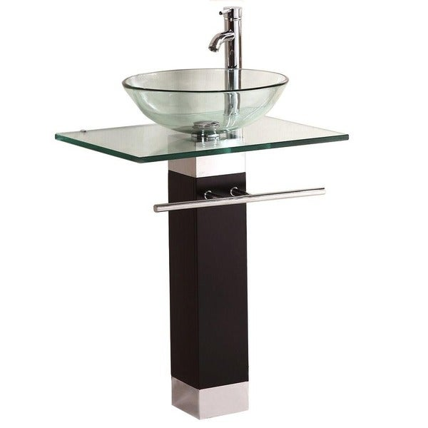Bathroom Vanities Wood Pedistal Glass Vessel Sink Combo