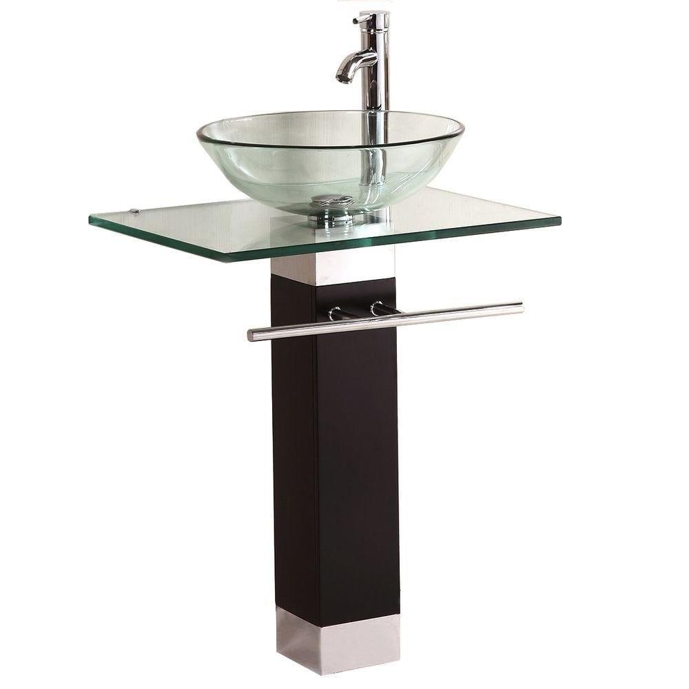 Kokols Bathroom Vanities Wood Pedistal Glass Vessel Sink ...