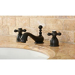 Mini-Widespread Double-Handle Oil-Rubbed-Bronze Bathroom Faucet - Thumbnail 1