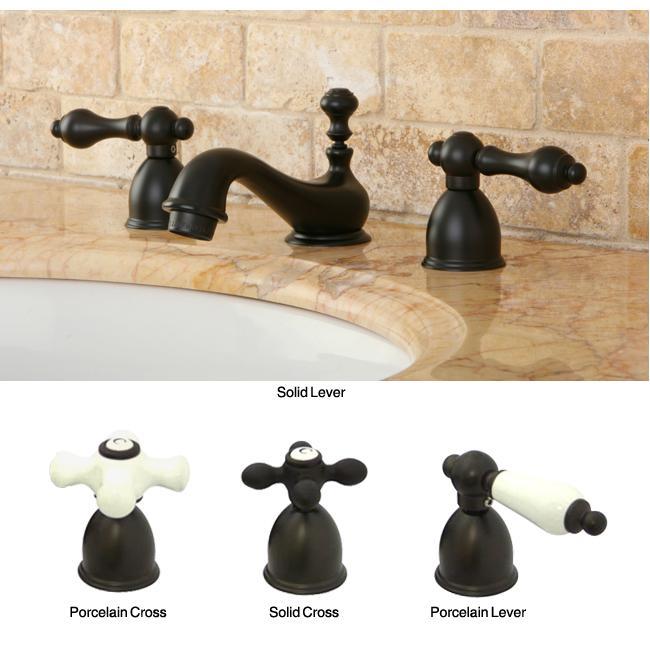 MiniWidespread DoubleHandle OilRubbedBronze Bathroom Faucet EBay - Oiled bronze bathroom faucet