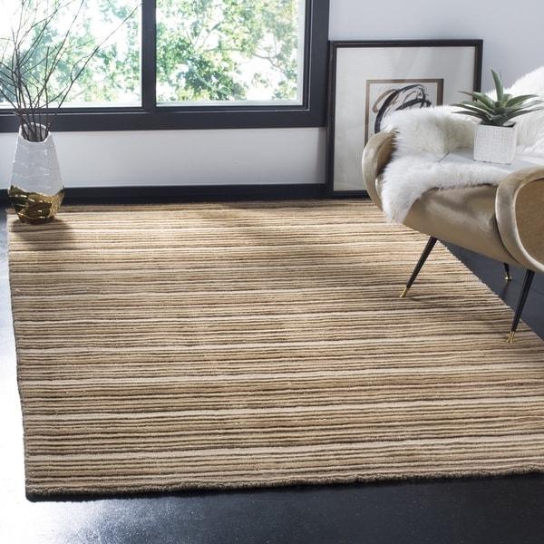 Safavieh Handmade Stripes Ivory/ Brown New Zealand Wool Rug (5' x 8')