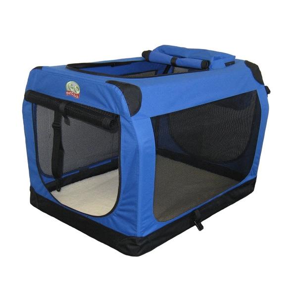 Go Pet Club Blue 28-inch Soft Folding Dog Crate House