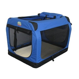Go Pet Club Blue 32-inch Soft Folding Dog Crate House