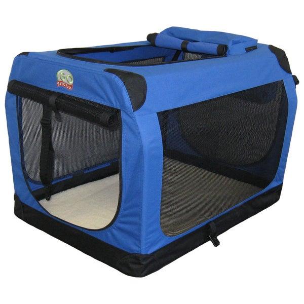 go pet club blue 40inch soft folding dog crate