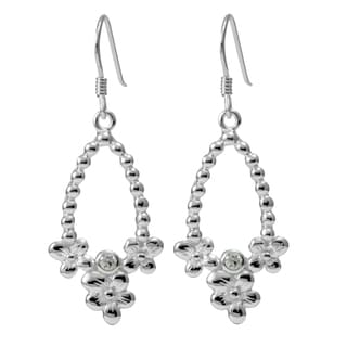 Sterling Silver Flowers Cubic Zirconia Earrings (Thailand)