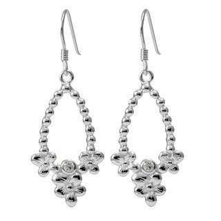 Handmade Sterling Silver Flowers Cubic Zirconia Earrings (Thailand)