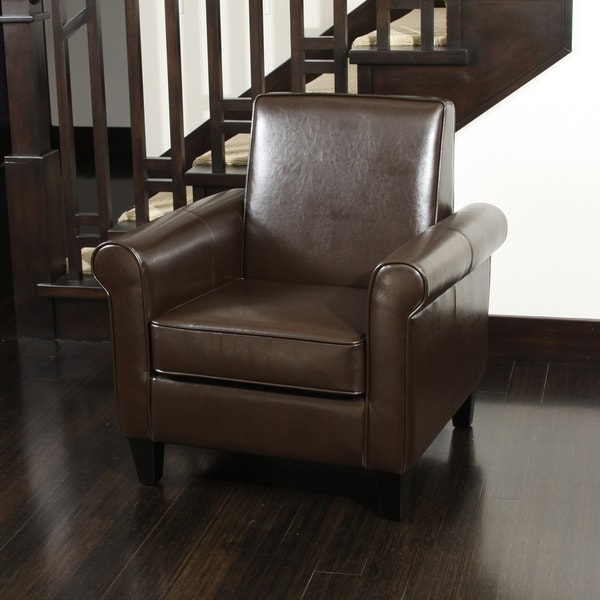 Freemont Brown Bonded Leather Club Chair by Christopher Knight Home