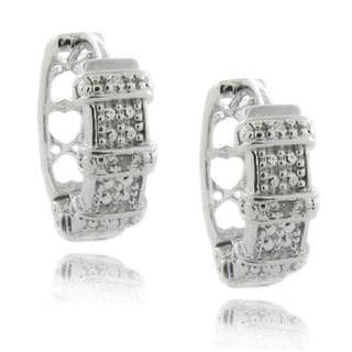 Finesque Sterling Silver Diamond Accent Ribbon Hoop Earrings