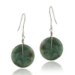 Glitzy Rocks Sterling Silver Green Jasper Disc Dangle Earrings
