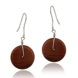 Glitzy Rocks Sterling Silver Red Jasper Disc Dangle Earrings