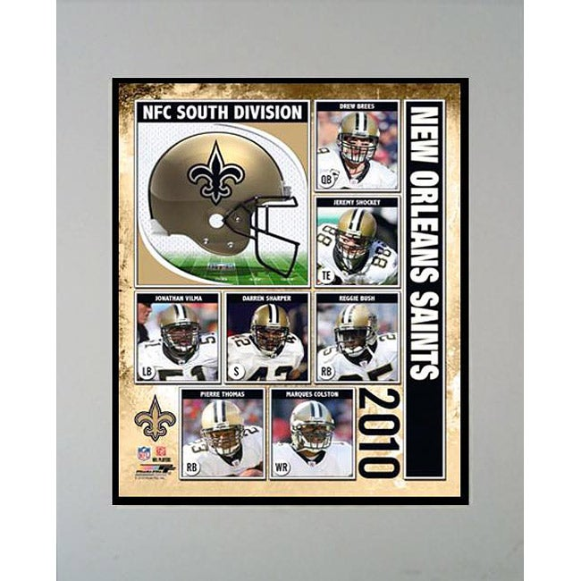 2010 New Orleans Saints Matted Print