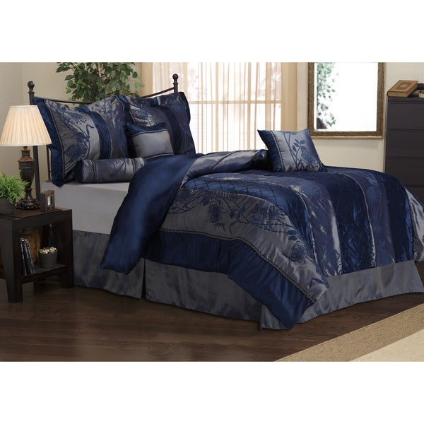 Rosemonde 7 Piece Navy Blue Comforter Set Free Shipping