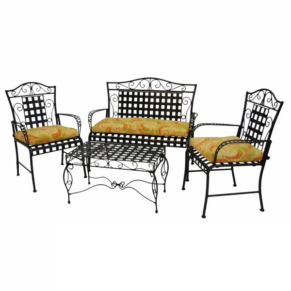 Blazing Needles All-weather UV-resistant Outdoor Settee Cushions (Set of 3)