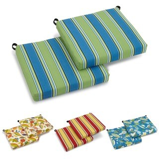 Blazing Needles All-Weather UV-Resistant Outdoor Polyester Chair Cushions (Set of 2) (3 options available)
