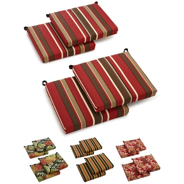 All Weather UV Resistant Outdoor Chair Cushions with Zipper Closure Set of F