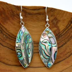 Alpaca Silver Oval Mother of Pearl Earrings (Mexico)