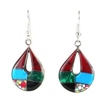Handmade Alpaca Silver Gemstone Teardrop Earrings (Mexico) - Green